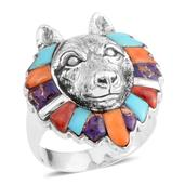 Santa Fe Style Multi Gemstone Sterling Silver Wolf Head Ring (Size 14.0) TGW 2.00 cts.