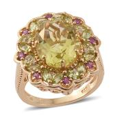 Ouro Verde Quartz, Multi Gemstone 14K YG Over Sterling Silver Ring (Size 7.0) TGW 7.86 cts.