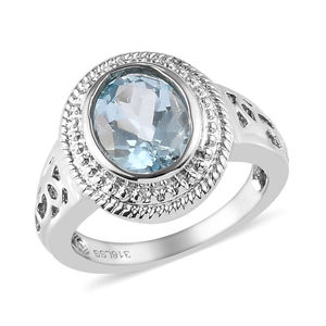 Sky Blue Topaz Stainless Steel Ring (Size 7.0) TGW 2.20 cts.