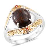 Dino Bone, Jalisco Cherry Fire Opal 14K YG and Platinum Over Sterling Silver Ring (Size 6.0) TGW 5.29 cts.