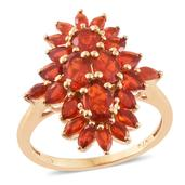 Crimson Fire Opal 14K YG Over Sterling Silver Ring (Size 8.0) TGW 2.74 cts.