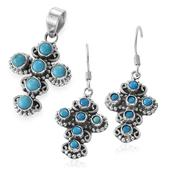 Artisan Crafted Arizona Sleeping Beauty Turquoise Sterling Silver Cross Earrings and Pendant without Chain TGW 2.94 cts.