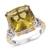 Ouro Verde Quartz, Multi Gemstone 14K YG and Platinum Over Sterling Silver Ring (Size 9.0) TGW 15.93 cts.