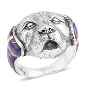 Santa Fe Style Mojave Purple Turquoise Sterling Silver Dog Face Ring (Size 10.0) TGW 2.00 cts.