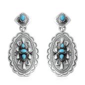 Santa Fe Style Kingman Turquoise Sterling Silver Earrings TGW 3.50 cts.