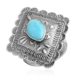 Santa Fe Style Turquoise Sterling Silver Ring (Size 7.0) TGW 1.35 cts.