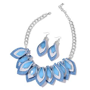 Blue Resin Iron & Stainless Steel Earrings and Necklace (20 in)
