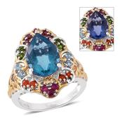 Color Change Fluorite, Multi Gemstone 14K YG and Platinum Over Sterling Silver Ring (Size 8.0) TGW 7.68 cts.