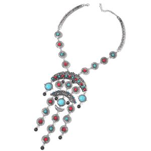 Multi Gemstone Silvertone Necklace (20 in) TGW 310.00 cts.