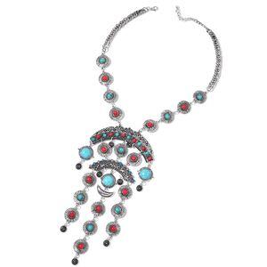 Multi Gemstone Silvertone Necklace (20 in) TGW 310.00 cts.