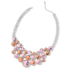 Designer Inspired Pink and Champagne Glass Silvertone Bib Necklace (20 in)
