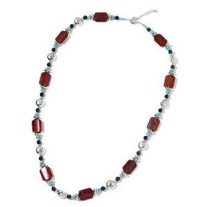Red Snakeskin Jasper, Multi Gemstone Silvertone Necklace (35 in) TGW 350.00 cts.