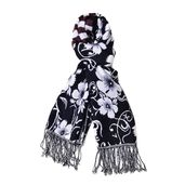 Black and White 100% Acrylic 3D Floral Reversible Scarf with Fringes (74x27 in)