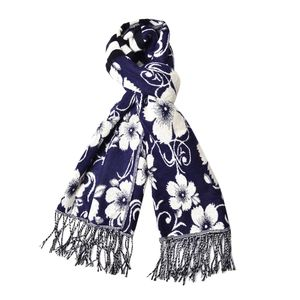 Slate Blue and Cream 100% Acrylic 3D Floral Reversible Scarf with Fringes (74x27 in)