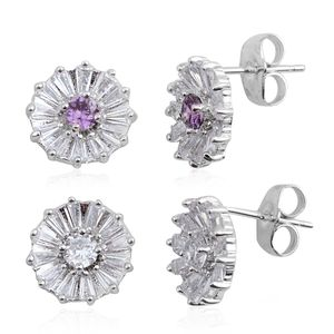 Set of 2 Simulated Purple and White Diamond Silvertone Floral Stud Earrings TGW 2.96 cts.
