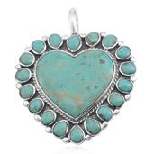 Santa Fe Style Mojave Blue Turquoise Sterling Silver Heart Pendant without Chain TGW 15.00 cts.