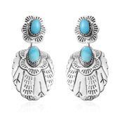 Santa Fe Style Kingman Turquoise Sterling Silver Earrings TGW 0.50 cts.