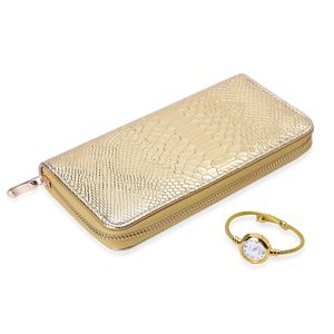 STRADA Japanese Movement Wired Cuff Watch in Goldtone with Matching Snake Skin Embossed Faux Leather Wallet (7.5x4 in)