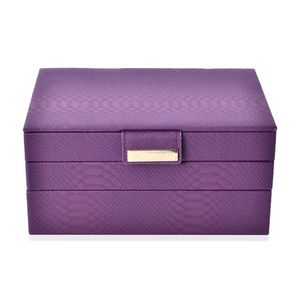 3-Tier Plum Faux Leather Stack Jewelry Box with Scratch Protection Interior and Button Closure (Approx. 72 Rings, 5 Chains & Bracelets, 9 Small and 2 Medium Compartments) (9.8x6.7x4.7 in)