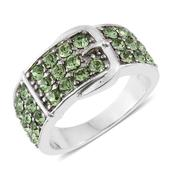 Stainless Steel Buckle Ring (Size 5.0) Made with SWAROVSKI Green Crystal