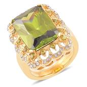 Simulated Green Diamond, White Austrian Crystal ION Plated YG Stainless Steel Ring (Size 8.0) TGW 6.47 cts.