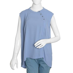 Denim Blue 100% Polyester Hi-low Sleevless Top with Button Opening (XL)
