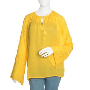 Spicy Mustard 100% Viscose Top with 3/4 Sleeve and Button Opening
