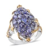 Tanzanite 14K YG and Platinum Over Sterling Silver Elongated Ring (Size 7.0) TGW 4.35 cts.