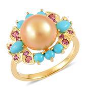 South Sea Golden Pearl, Arizona Sleeping Beauty Turquoise, Orissa Rhodolite Garnet 14K YG Over Sterling Silver Ring (Size 7.0) TGW 1.12 cts.