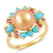 South Sea Golden Pearl (10.5-11 mm), Arizona Sleeping Beauty Turquoise, Orissa Rhodolite Garnet 14K YG Over Sterling Silver Bird's Pearl Ring (Size 9.0) TGW 1.12 cts.
