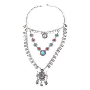 Chroma, Blue Howlite Silvertone Bib Drape Necklace (21 in) TGW 10.00 cts.