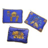 Set of 3 Blue Embroidered Beaded Coin Purse
