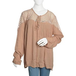 Warm Taupe Solid Lace Drawstring 100% Viscose Top with Long Sleeve (XXL)