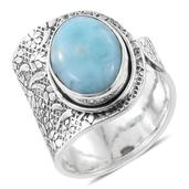 Artisan Crafted Sea Mist Larimar Sterling Silver Open Band Ring (Size 6.0) TGW 9.50 cts.