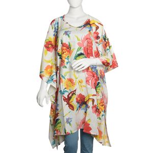 Multi Color Floral Printed 100% Rayon Poncho (Free Size)