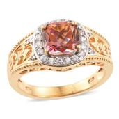 Mystic Twilight Topaz, Cambodian Zircon 14K YG Over Sterling Silver Ring (Size 10.0) TGW 3.20 cts.