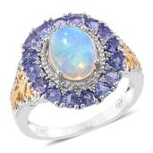 Ethiopian Welo Opal, Tanzanite, Cambodian Zircon 14K YG and Platinum Over Sterling Silver Ring (Size 9.0) TGW 3.92 cts.