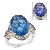 Color Change Fluorite, Catalina Iolite 14K YG and Platinum Over Sterling Silver Ring (Size 7.0) TGW 17.73 cts.