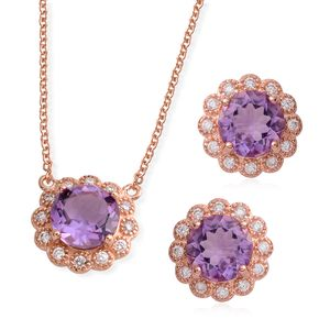 Amethyst, Simulated Diamond Rosetone Earrings and Necklace (18-20 In) TGW 4.95 cts.