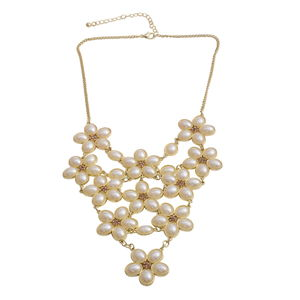 Simulated Pearl, Champagne Color Austrian Crystal Goldtone Necklace (16 in)