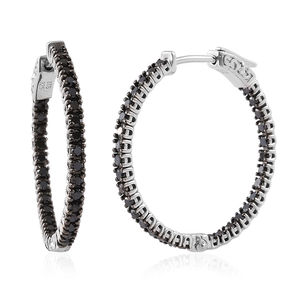 Black Diamond (IR) Platinum Over Sterling Silver Inside Out Latch Back Huggie Hoop Earrings TDiaWt 2.00 cts, TGW 2.00 cts.
