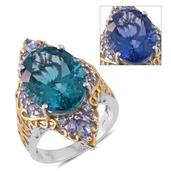Color Change Fluorite, Tanzanite 14K YG and Platinum Over Sterling Silver Ring (Size 9.0) TGW 16.42 cts.