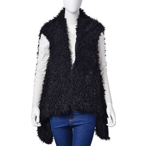 Black 100% Polyester Faux Fur Reversible Draped Vest (One Size)