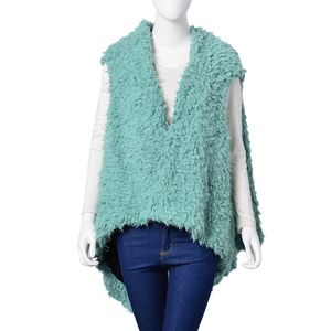 Mint 100% Polyester Faux Fur Reversible Draped Vest (One Size)