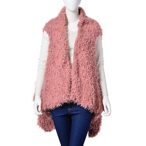 Dusty Pink 100% Polyester Faux Fur Reversible Draped Vest (One Size)