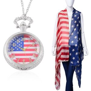 Ameican Flag Pattern 100% Polyester Vest with Matching Japanese Movement Antique Pocket Watch (34 In)