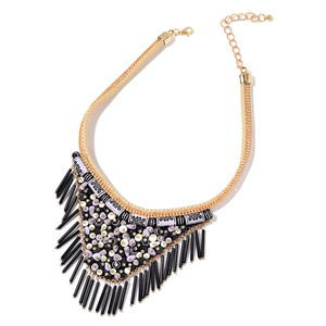Black Chroma Goldtone Fabric V-Shape Fringe Tribal Necklace (16-20 in)