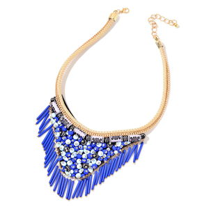 Blue Chroma Goldtone Fabric V-Shape Fringe Tribal Necklace (16-20 in)