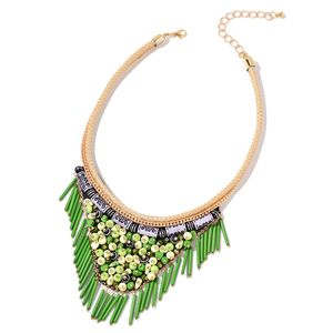 Green Chroma Goldtone Fabric V-Shape Fringe Tribal Necklace (16-20 in)