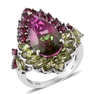 Web Exclusive Doorbuster Watermelon Quartz, Orissa Rhodolite Garnet, Hebei Peridot 14K YG and Platinum Over Sterling Silver Ring (Size 6.0) TGW 13.71 cts.